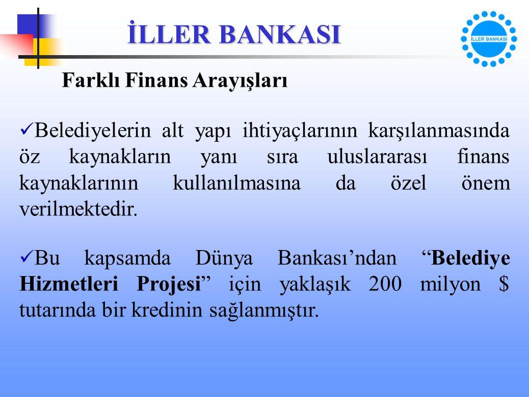 İLLER BANKASI Farklı Finans Arayışları Belediyelerin alt yapı ihtiyaçlarının karşılanmasında öz kaynakların yanı sıra uluslararası finans kaynaklarını