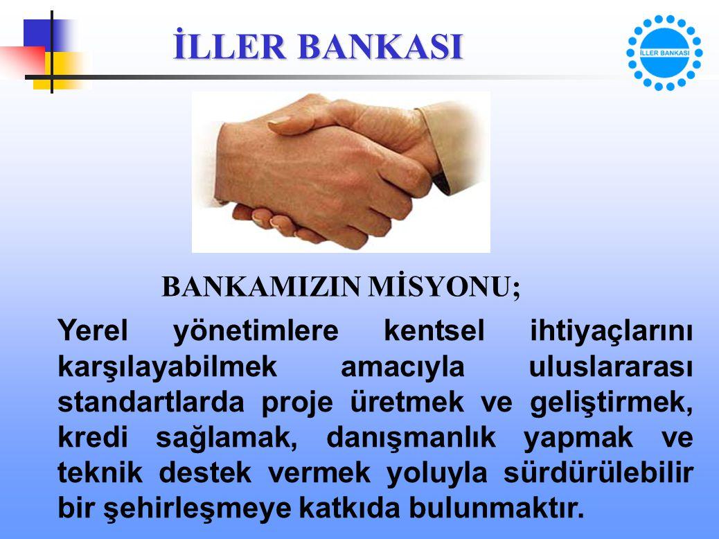 İLLER BANKASI BANKAMIZIN MİSYONU; Yerel yönetimlere kentsel ihtiyaçlarını karşılayabilmek amacıyla uluslararası standartlarda proje üretmek ve gelişti