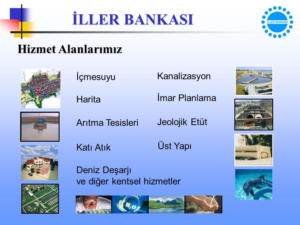 İLLER BANKASI Hizmet Alanlarımız İçmesuyu Kanalizasyon Harita İmar Planlama Arıtma Tesisleri Jeolojik Etüt Katı Atık Üst Yapı Deniz Deşarjı ve diğer k