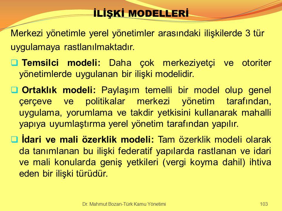 İLİŞKİ MODELLERİ Merkezi yönetimle yerel yönetimler arasındaki ilişkilerde 3 tür uygulamaya rastlanılmaktadır.  Temsilci modeli: Daha çok merkeziyetç