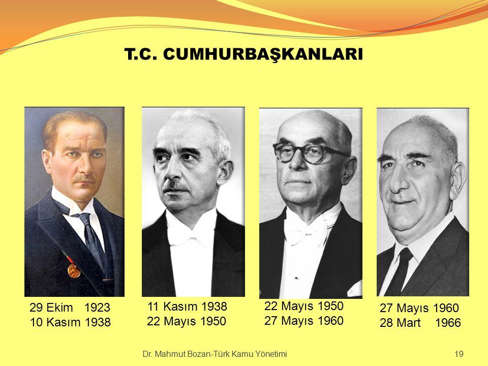T.C. CUMHURBAŞKANLARI 29 Ekim 1923 10 Kasım 1938 11 Kasım 1938 22 Mayıs 1950 27 Mayıs 1960 28 Mart 1966 Dr. Mahmut Bozan-Türk Kamu Yönetimi 19