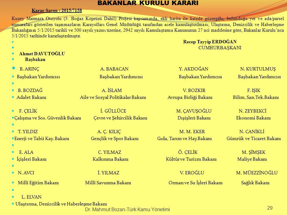BAKANLAR KURULU KARARI Karar Sayısı : 2015/7158 Kuzey Marmara Otoyolu (3. Boğaz Köprüsü Dahil) Projesi kapsamında, ekli harita ile listede güzergâhı,