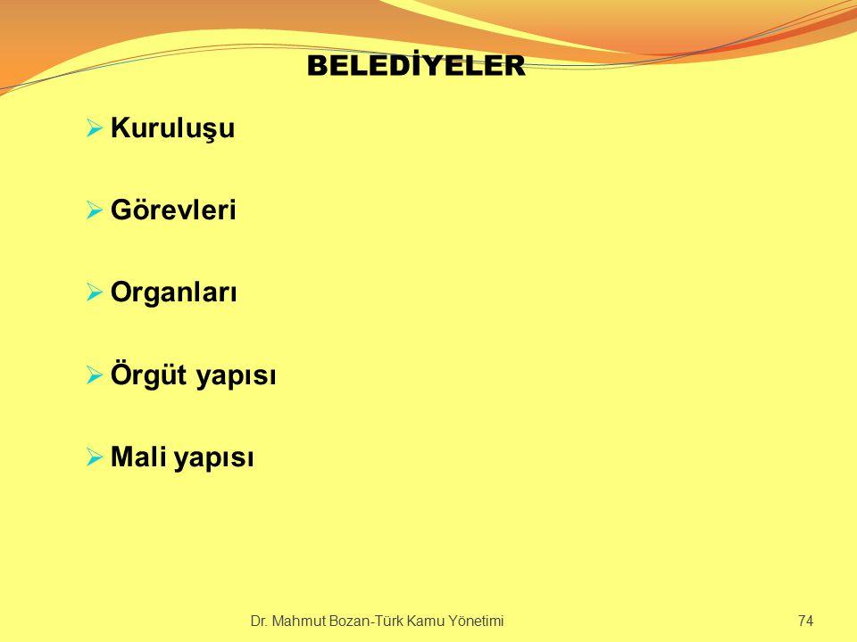 BELEDİYELER  Kuruluşu  Görevleri  Organları  Örgüt yapısı  Mali yapısı Dr. Mahmut Bozan-Türk Kamu Yönetimi 74