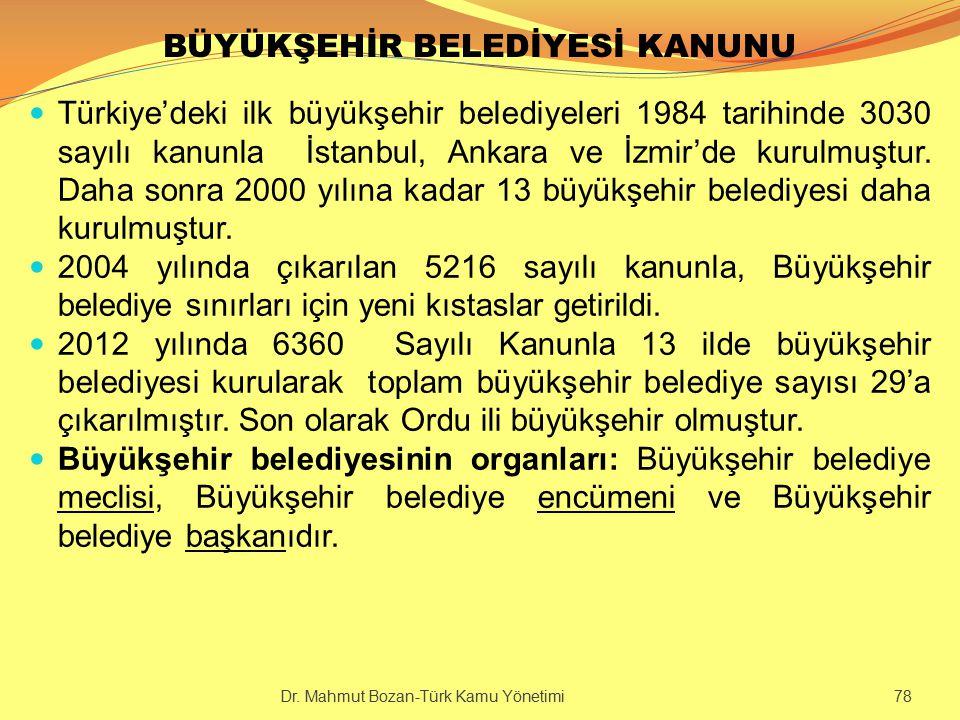 BÜYÜKŞEHİR BELEDİYESİ KANUNU Türkiye'deki ilk büyükşehir belediyeleri 1984 tarihinde 3030 sayılı kanunla İstanbul, Ankara ve İzmir'de kurulmuştur. Dah