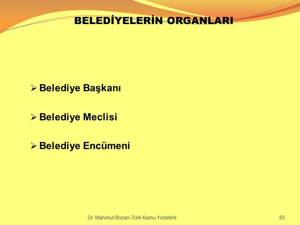 BELEDİYELERİN ORGANLARI  Belediye Başkanı  Belediye Meclisi  Belediye Encümeni Dr. Mahmut Bozan-Türk Kamu Yönetimi 83