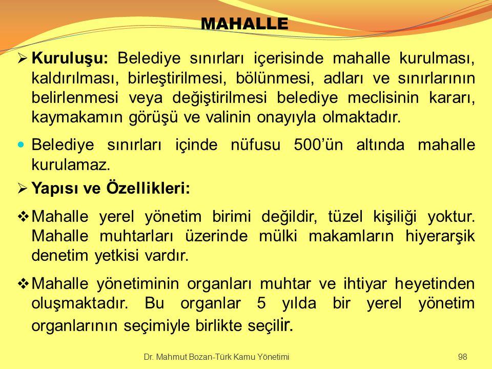 MAHALLE  Kuruluşu: Belediye sınırları içerisinde mahalle kurulması, kaldırılması, birleştirilmesi, bölünmesi, adları ve sınırlarının belirlenmesi vey