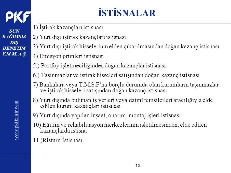 www.pkfizmir.com SUN BAĞIMSIZ DIŞ DENETİM Y.M.M. A.Ş. sayfa10 İSTİSNALAR 1) İştirak kazançları istisnası 2) Yurt dışı iştirak kazançları istisnası 3)
