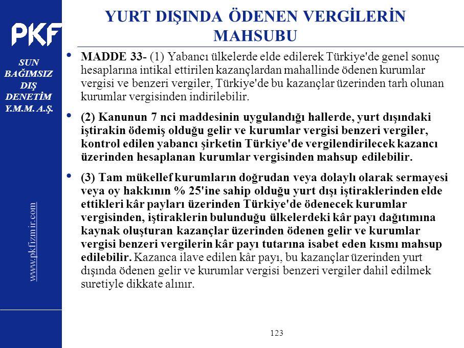 www.pkfizmir.com SUN BAĞIMSIZ DIŞ DENETİM Y.M.M. A.Ş. sayfa123 YURT DIŞINDA ÖDENEN VERGİLERİN MAHSUBU MADDE 33- (1) Yabancı ülkelerde elde edilerek Tü