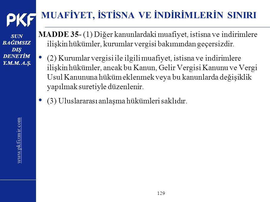 www.pkfizmir.com SUN BAĞIMSIZ DIŞ DENETİM Y.M.M. A.Ş. sayfa129 MUAFİYET, İSTİSNA VE İNDİRİMLERİN SINIRI MADDE 35- (1) Diğer kanunlardaki muafiyet, ist