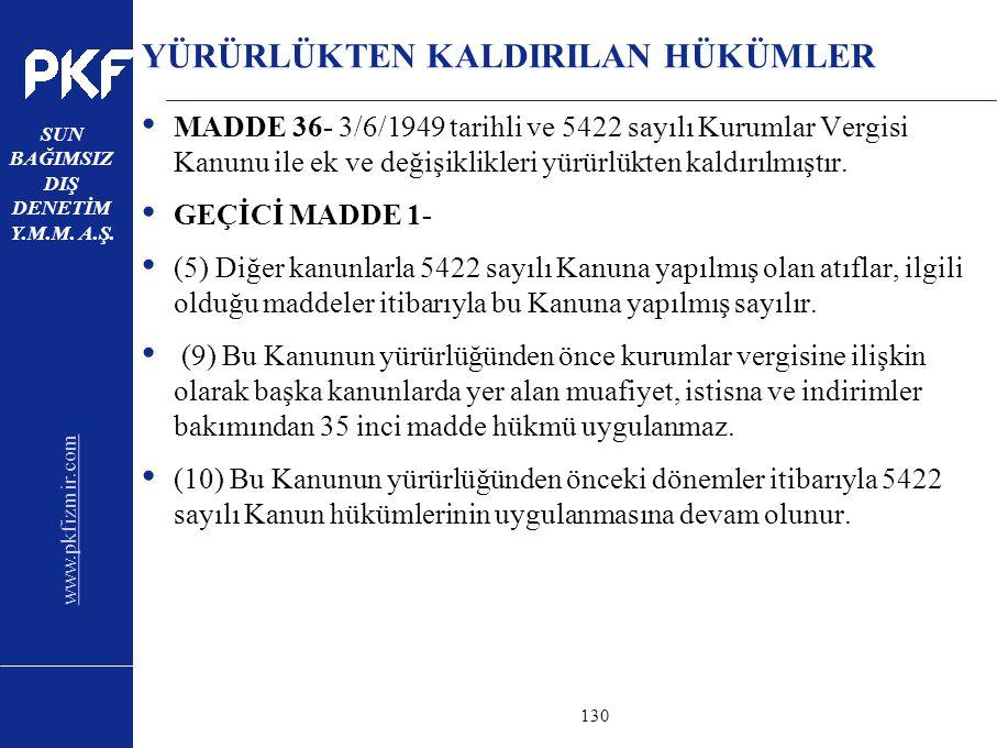 www.pkfizmir.com SUN BAĞIMSIZ DIŞ DENETİM Y.M.M. A.Ş. sayfa130 YÜRÜRLÜKTEN KALDIRILAN HÜKÜMLER MADDE 36- 3/6/1949 tarihli ve 5422 sayılı Kurumlar Verg