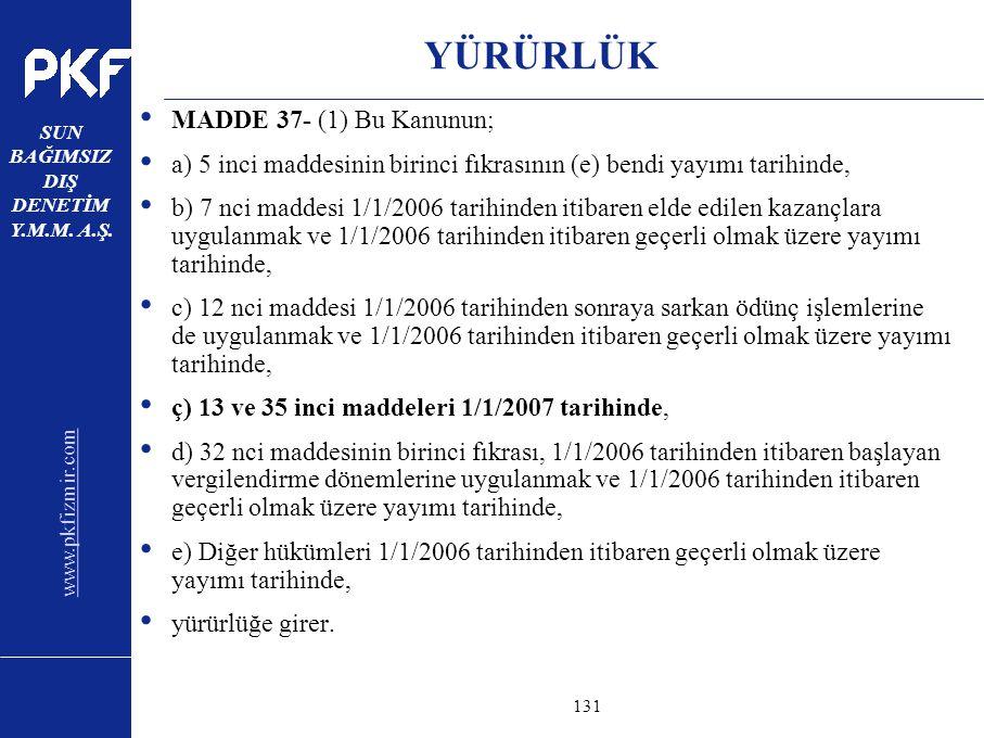 www.pkfizmir.com SUN BAĞIMSIZ DIŞ DENETİM Y.M.M. A.Ş. sayfa131 YÜRÜRLÜK MADDE 37- (1) Bu Kanunun; a) 5 inci maddesinin birinci fıkrasının (e) bendi ya