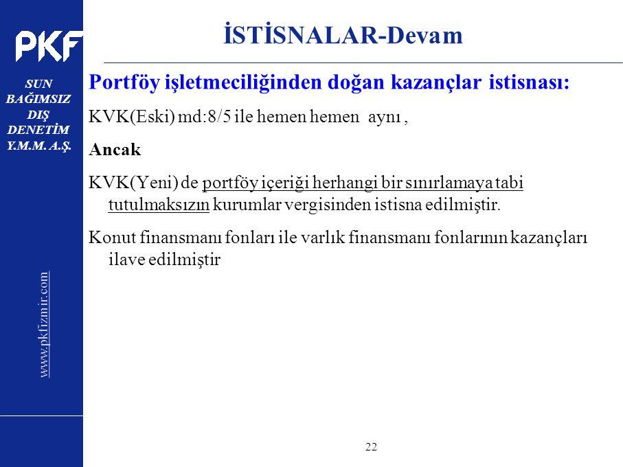 www.pkfizmir.com SUN BAĞIMSIZ DIŞ DENETİM Y.M.M. A.Ş. sayfa22 İSTİSNALAR-Devam Portföy işletmeciliğinden doğan kazançlar istisnası: KVK(Eski) md:8/5 i