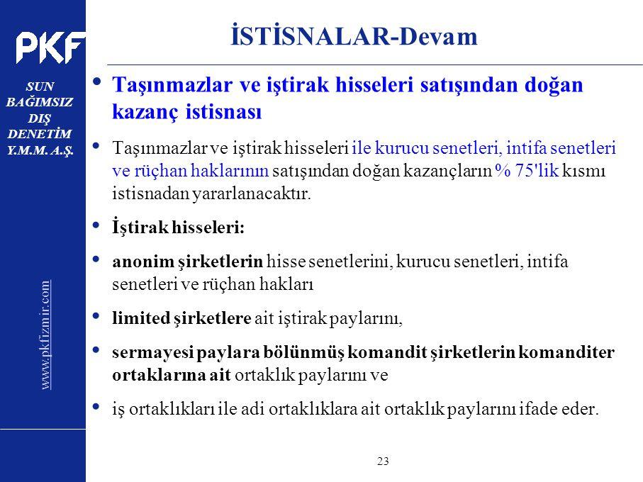 www.pkfizmir.com SUN BAĞIMSIZ DIŞ DENETİM Y.M.M. A.Ş. sayfa23 İSTİSNALAR-Devam Taşınmazlar ve iştirak hisseleri satışından doğan kazanç istisnası Taşı