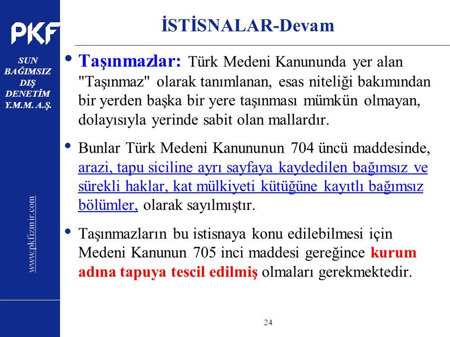 www.pkfizmir.com SUN BAĞIMSIZ DIŞ DENETİM Y.M.M. A.Ş. sayfa24 İSTİSNALAR-Devam Taşınmazlar: Türk Medeni Kanununda yer alan