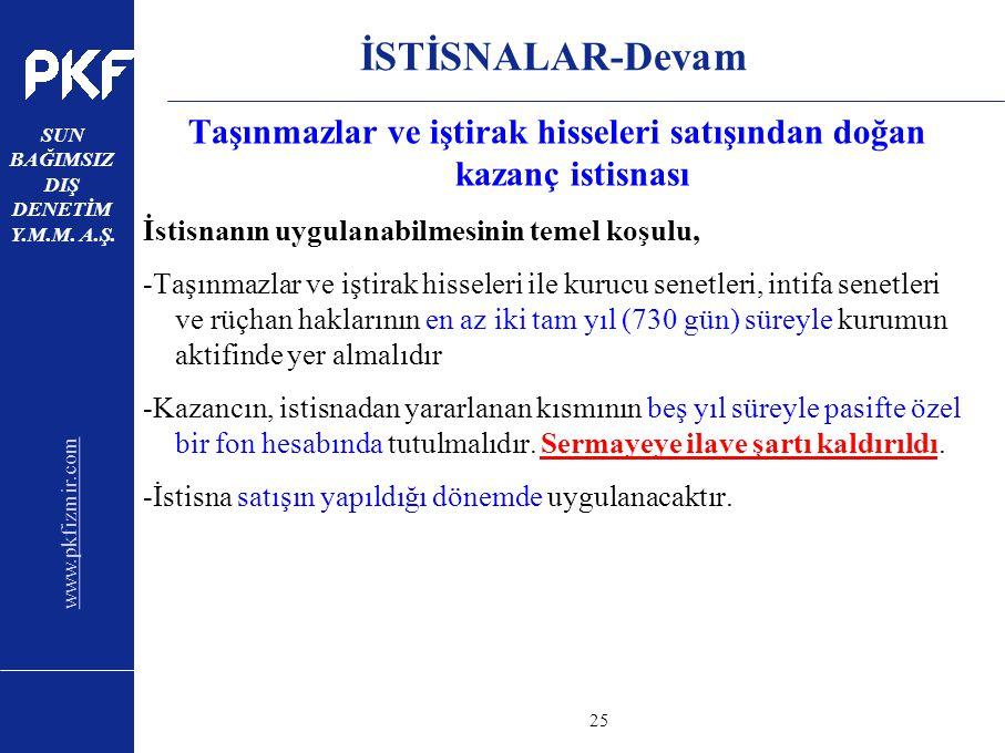 www.pkfizmir.com SUN BAĞIMSIZ DIŞ DENETİM Y.M.M. A.Ş. sayfa25 İSTİSNALAR-Devam Taşınmazlar ve iştirak hisseleri satışından doğan kazanç istisnası İsti
