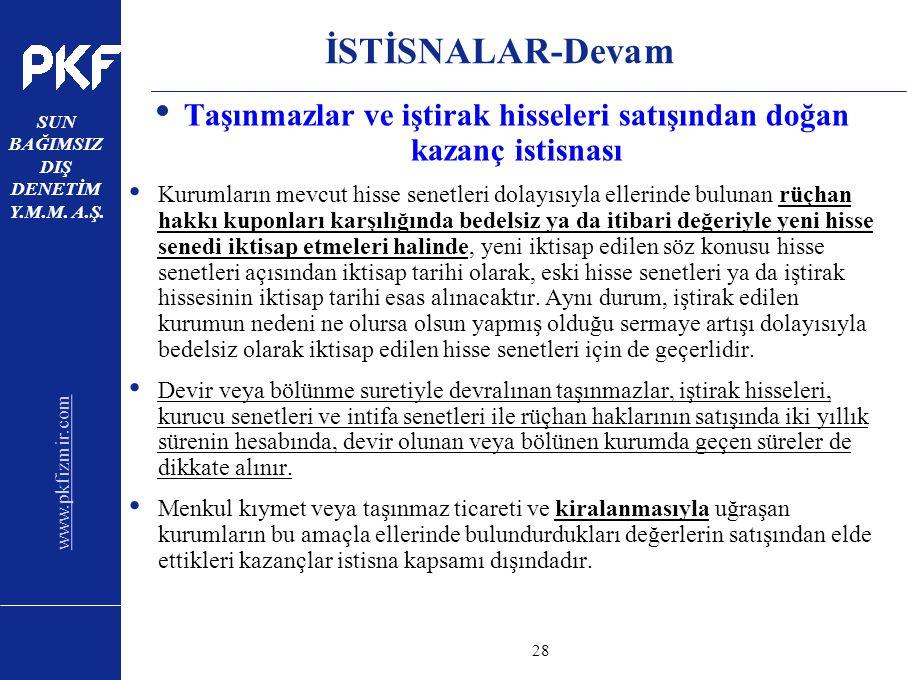 www.pkfizmir.com SUN BAĞIMSIZ DIŞ DENETİM Y.M.M. A.Ş. sayfa28 İSTİSNALAR-Devam Taşınmazlar ve iştirak hisseleri satışından doğan kazanç istisnası Kuru
