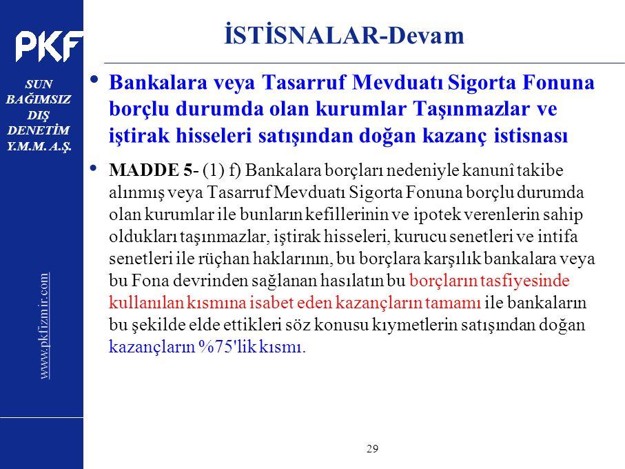 www.pkfizmir.com SUN BAĞIMSIZ DIŞ DENETİM Y.M.M. A.Ş. sayfa29 İSTİSNALAR-Devam Bankalara veya Tasarruf Mevduatı Sigorta Fonuna borçlu durumda olan kur