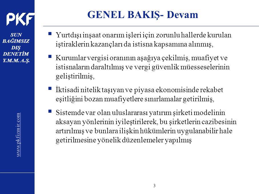 www.pkfizmir.com SUN BAĞIMSIZ DIŞ DENETİM Y.M.M. A.Ş. sayfa3 GENEL BAKIŞ- Devam  Yurtdışı inşaat onarım işleri için zorunlu hallerde kurulan iştirakl