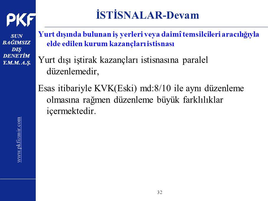 www.pkfizmir.com SUN BAĞIMSIZ DIŞ DENETİM Y.M.M. A.Ş. sayfa32 İSTİSNALAR-Devam Yurt dışında bulunan iş yerleri veya daimî temsilcileri aracılığıyla el