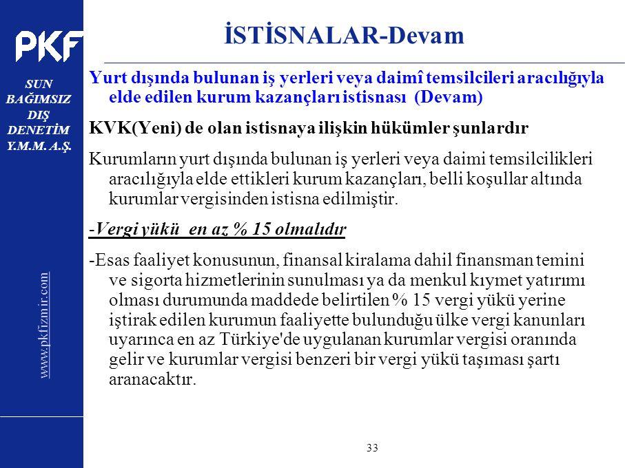 www.pkfizmir.com SUN BAĞIMSIZ DIŞ DENETİM Y.M.M. A.Ş. sayfa33 İSTİSNALAR-Devam Yurt dışında bulunan iş yerleri veya daimî temsilcileri aracılığıyla el