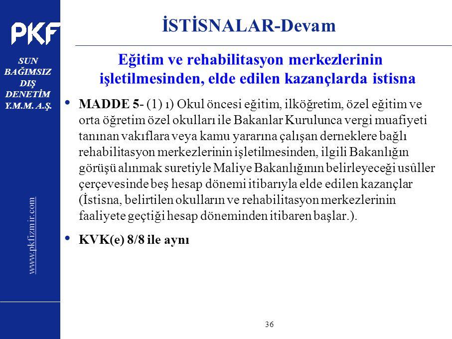 www.pkfizmir.com SUN BAĞIMSIZ DIŞ DENETİM Y.M.M. A.Ş. sayfa36 İSTİSNALAR-Devam Eğitim ve rehabilitasyon merkezlerinin işletilmesinden, elde edilen kaz