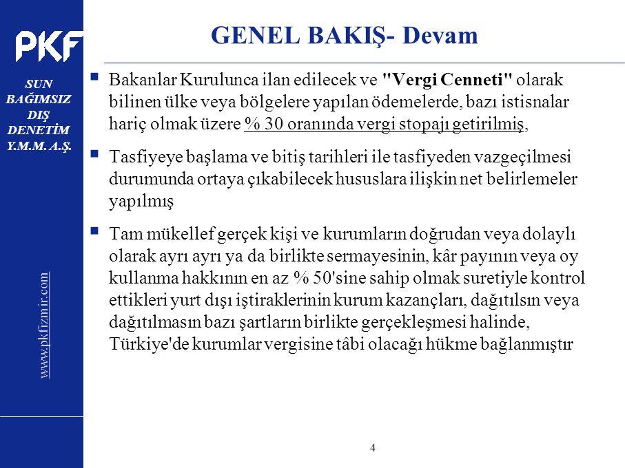 www.pkfizmir.com SUN BAĞIMSIZ DIŞ DENETİM Y.M.M. A.Ş. sayfa4 GENEL BAKIŞ- Devam  Bakanlar Kurulunca ilan edilecek ve