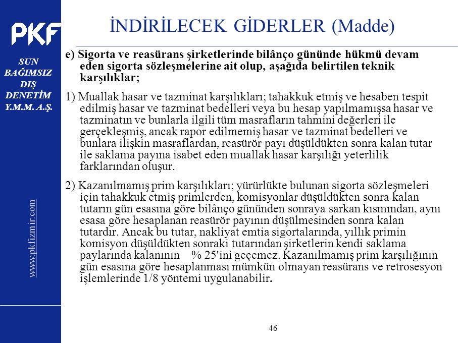 www.pkfizmir.com SUN BAĞIMSIZ DIŞ DENETİM Y.M.M. A.Ş. sayfa46 İNDİRİLECEK GİDERLER (Madde) e) Sigorta ve reasürans şirketlerinde bilânço gününde hükmü