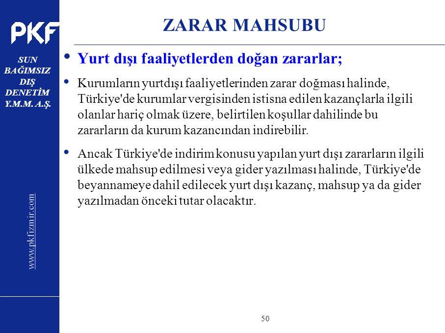 www.pkfizmir.com SUN BAĞIMSIZ DIŞ DENETİM Y.M.M. A.Ş. sayfa50 ZARAR MAHSUBU Yurt dışı faaliyetlerden doğan zararlar; Kurumların yurtdışı faaliyetlerin