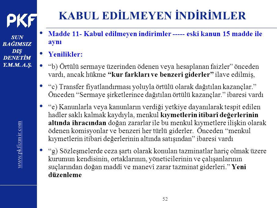 www.pkfizmir.com SUN BAĞIMSIZ DIŞ DENETİM Y.M.M. A.Ş. sayfa52 KABUL EDİLMEYEN İNDİRİMLER Madde 11- Kabul edilmeyen indirimler ----- eski kanun 15 madd