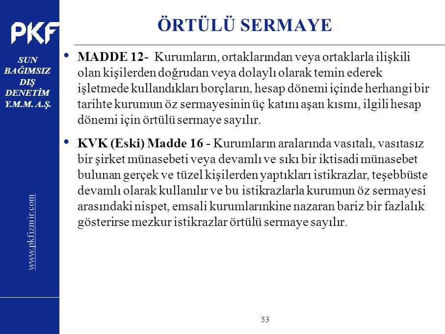 www.pkfizmir.com SUN BAĞIMSIZ DIŞ DENETİM Y.M.M. A.Ş. sayfa53 ÖRTÜLÜ SERMAYE MADDE 12- Kurumların, ortaklarından veya ortaklarla ilişkili olan kişiler