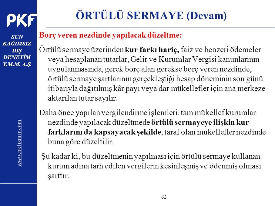 www.pkfizmir.com SUN BAĞIMSIZ DIŞ DENETİM Y.M.M. A.Ş. sayfa62 ÖRTÜLÜ SERMAYE (Devam) Borç veren nezdinde yapılacak düzeltme: Örtülü sermaye üzerinden