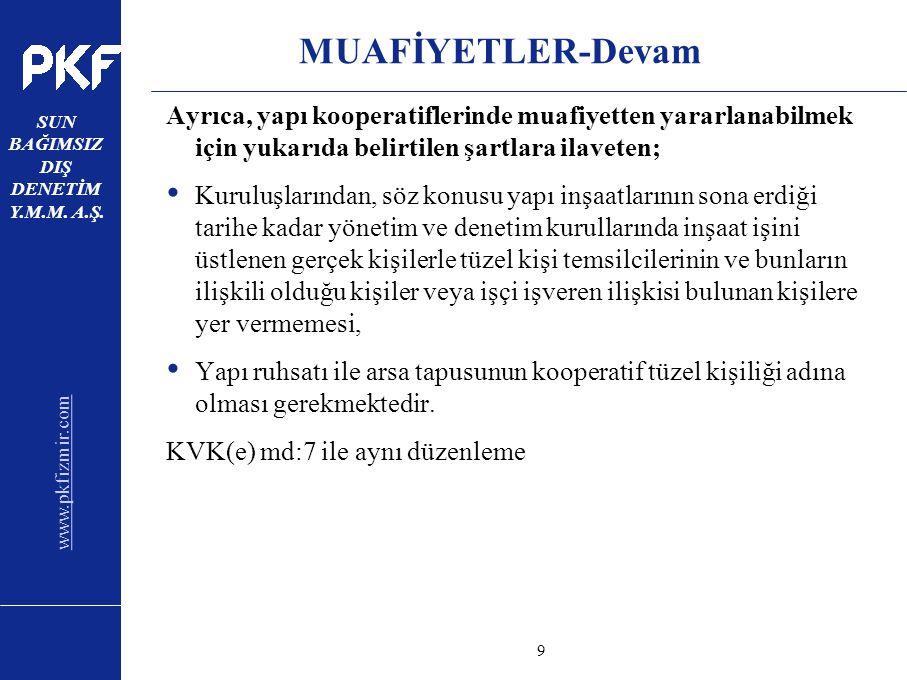 www.pkfizmir.com SUN BAĞIMSIZ DIŞ DENETİM Y.M.M. A.Ş. sayfa9 MUAFİYETLER-Devam Ayrıca, yapı kooperatiflerinde muafiyetten yararlanabilmek için yukarıd