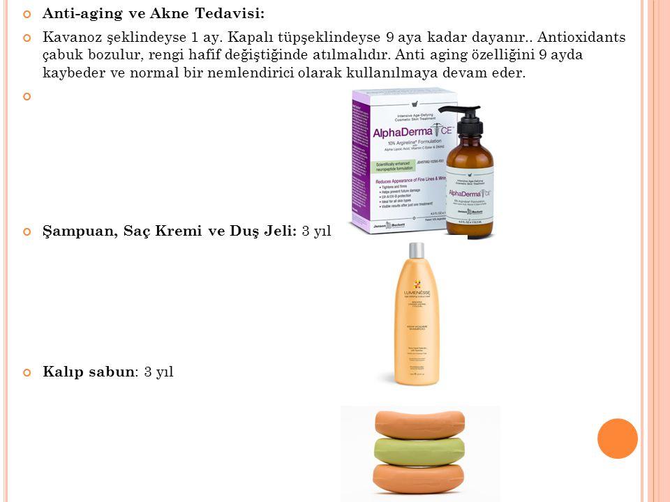 Anti-aging ve Akne Tedavisi: Kavanoz şeklindeyse 1 ay. Kapalı tüpşeklindeyse 9 aya kadar dayanır.. Antioxidants çabuk bozulur, rengi hafif değiştiğind