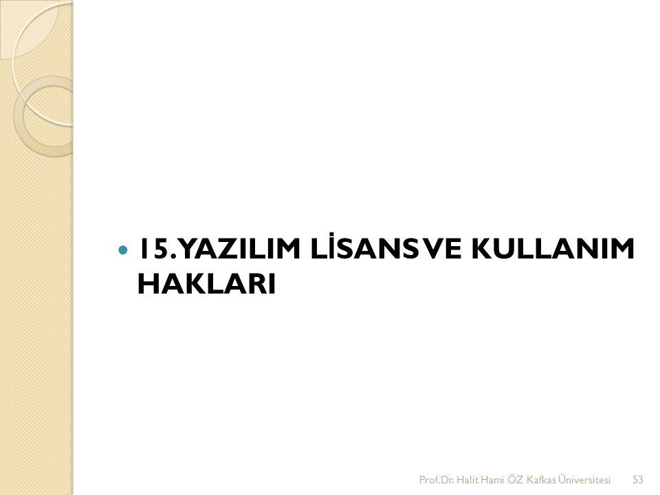 15. YAZILIM L İ SANS VE KULLANIM HAKLARI Prof.Dr. Halit Hami ÖZ Kafkas Üniversitesi53