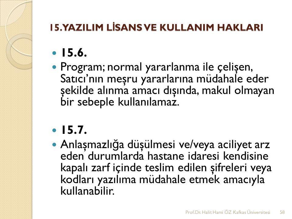 15. YAZILIM L İ SANS VE KULLANIM HAKLARI 15.6. Program; normal yararlanma ile çelişen, Satıcı'nın meşru yararlarına müdahale eder şekilde alınma amacı