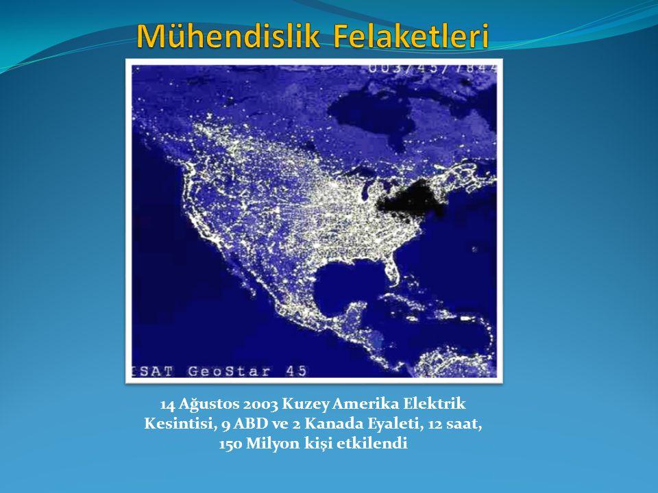 14 Ağustos 2003 Kuzey Amerika Elektrik Kesintisi, 9 ABD ve 2 Kanada Eyaleti, 12 saat, 150 Milyon kişi etkilendi