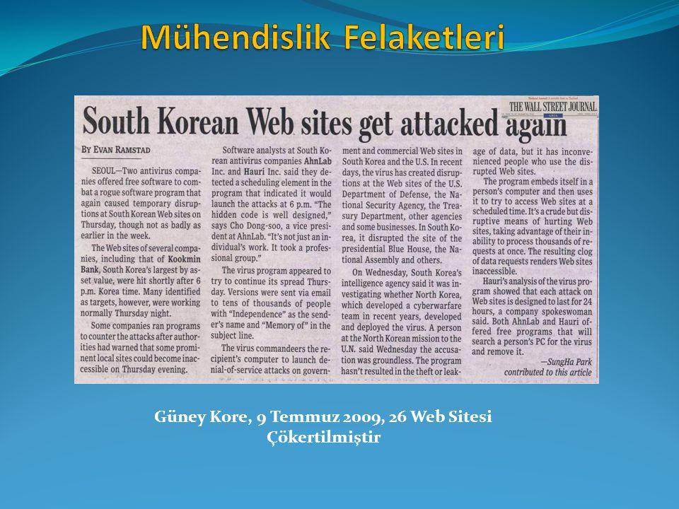 Güney Kore, 9 Temmuz 2009, 26 Web Sitesi Çökertilmiştir