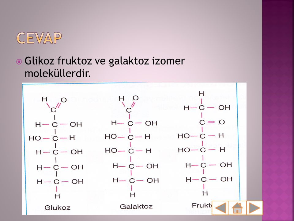  Glikoz fruktoz ve galaktoz izomer moleküllerdir.
