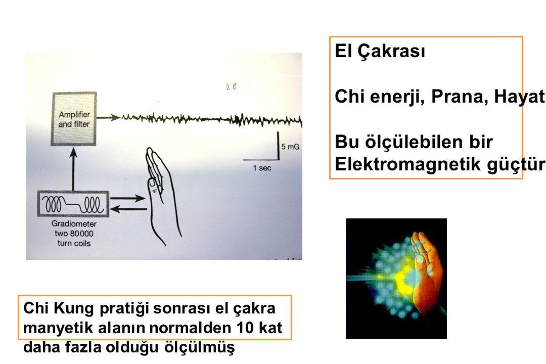 El Çakrası Chi enerji, Prana, Hayat Gücü Bu ölçülebilen bir Elektromagnetik güçtür Chi Kung pratiği sonrası el çakra manyetik alanın normalden 10 kat daha fazla olduğu ölçülmüş