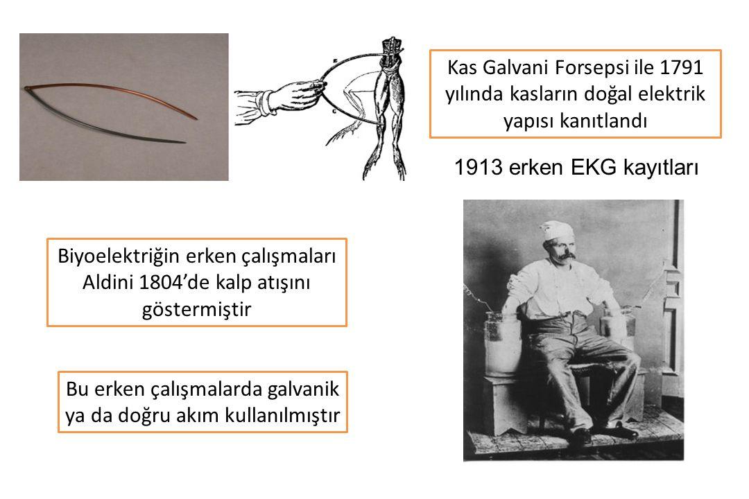 Kas Galvani Forsepsi ile 1791 yılında kasların doğal elektrik yapısı kanıtlandı Biyoelektriğin erken çalışmaları Aldini 1804'de kalp atışını göstermiştir Bu erken çalışmalarda galvanik ya da doğru akım kullanılmıştır 1913 erken EKG kayıtları