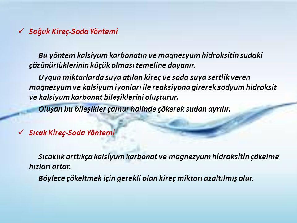 Soğuk Kireç-Soda Yöntemi Bu yöntem kalsiyum karbonatın ve magnezyum hidroksitin sudaki çözünürlüklerinin küçük olması temeline dayanır. Uygun miktarla