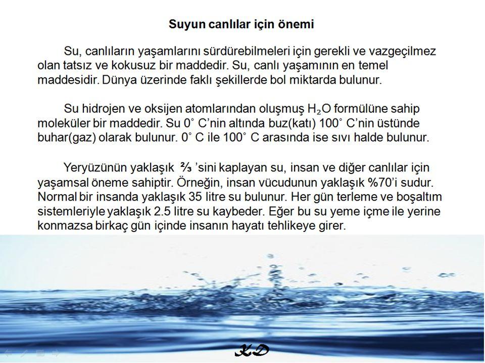 SUYUN CANLILAR İÇİN ÖNEMİ Su, canlıların yaşamlarını sürdürebilmeleri için gerekli ve vazgeçilmez olan tatsız ve kokusuz bir maddedir. Su, canlı yaşam