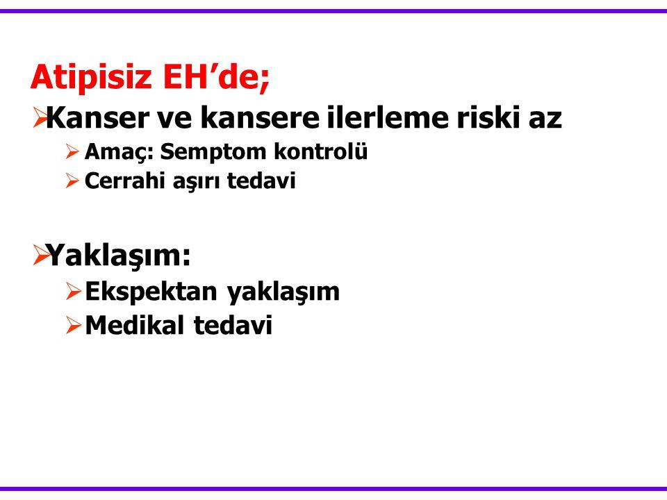 Atipisiz EH'de;  Kanser ve kansere ilerleme riski az  Amaç: Semptom kontrolü  Cerrahi aşırı tedavi  Yaklaşım:  Ekspektan yaklaşım  Medikal tedavi