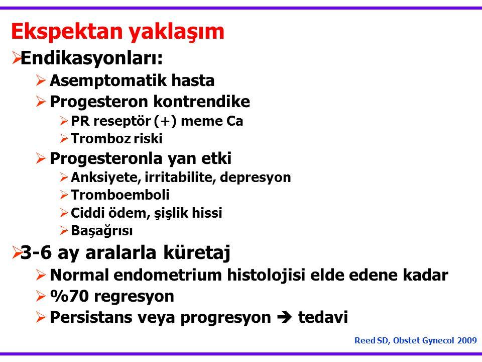 Ekspektan yaklaşım  Endikasyonları:  Asemptomatik hasta  Progesteron kontrendike  PR reseptör (+) meme Ca  Tromboz riski  Progesteronla yan etki  Anksiyete, irritabilite, depresyon  Tromboemboli  Ciddi ödem, şişlik hissi  Başağrısı  3-6 ay aralarla küretaj  Normal endometrium histolojisi elde edene kadar  %70 regresyon  Persistans veya progresyon  tedavi Reed SD, Obstet Gynecol 2009
