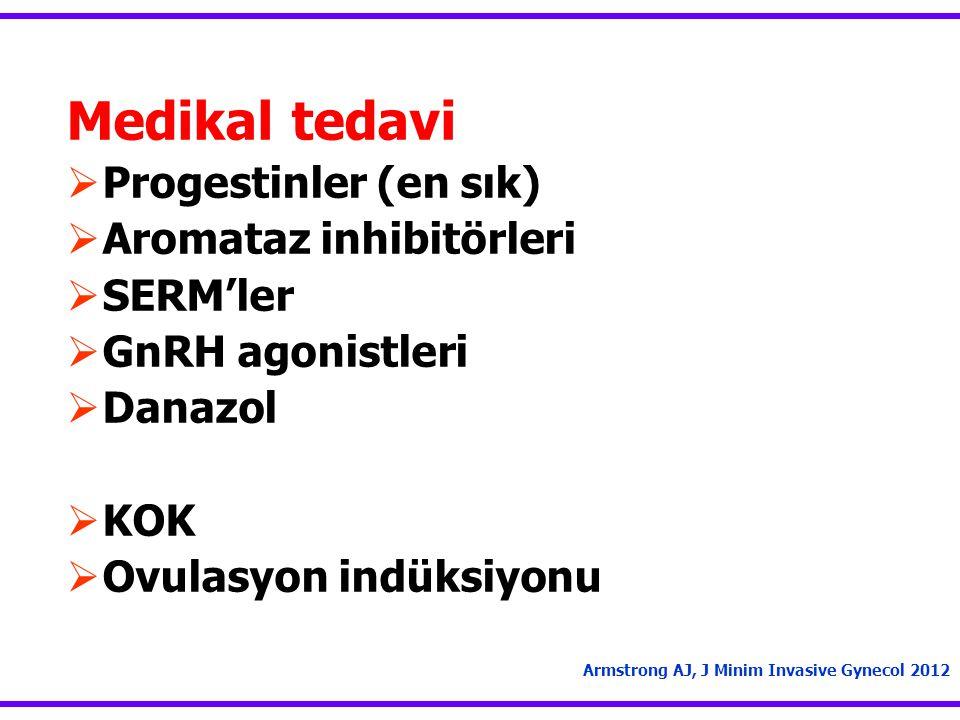 Medikal tedavi  Progestinler (en sık)  Aromataz inhibitörleri  SERM'ler  GnRH agonistleri  Danazol  KOK  Ovulasyon indüksiyonu Armstrong AJ, J Minim Invasive Gynecol 2012