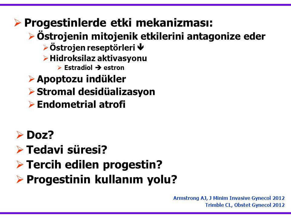  Progestinlerde etki mekanizması:  Östrojenin mitojenik etkilerini antagonize eder  Östrojen reseptörleri   Hidroksilaz aktivasyonu  Estradiol  estron  Apoptozu indükler  Stromal desidüalizasyon  Endometrial atrofi Armstrong AJ, J Minim Invasive Gynecol 2012 Trimble CL, Obstet Gynecol 2012  Doz.