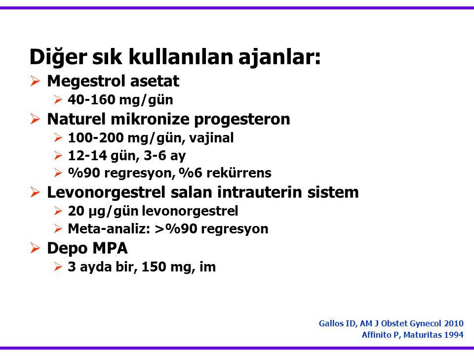 Diğer sık kullanılan ajanlar:  Megestrol asetat  40-160 mg/gün  Naturel mikronize progesteron  100-200 mg/gün, vajinal  12-14 gün, 3-6 ay  %90 r