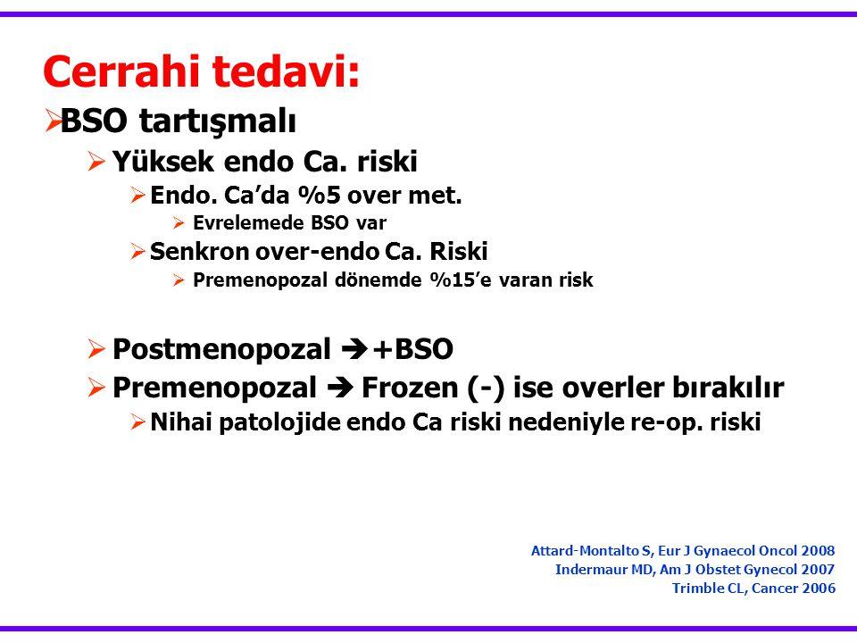 Cerrahi tedavi:  BSO tartışmalı  Yüksek endo Ca. riski  Endo. Ca'da %5 over met.  Evrelemede BSO var  Senkron over-endo Ca. Riski  Premenopozal