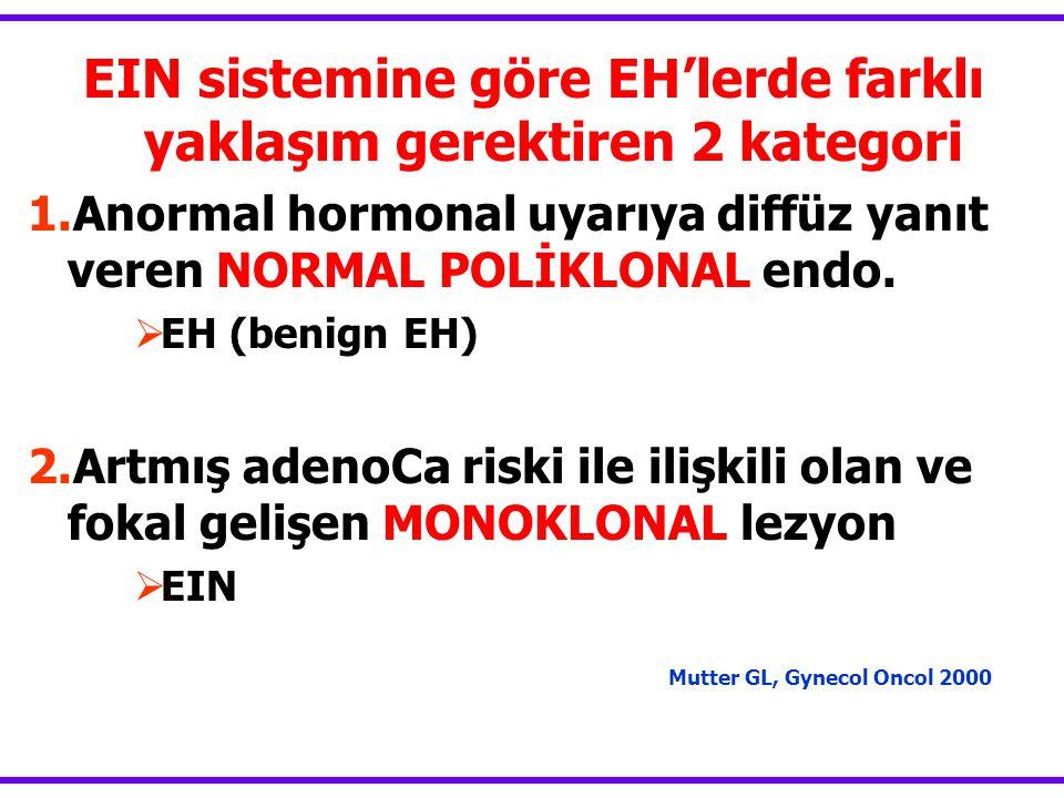 EIN sistemine göre EH'lerde farklı yaklaşım gerektiren 2 kategori 1.Anormal hormonal uyarıya diffüz yanıt veren NORMAL POLİKLONAL endo.  EH (benign E