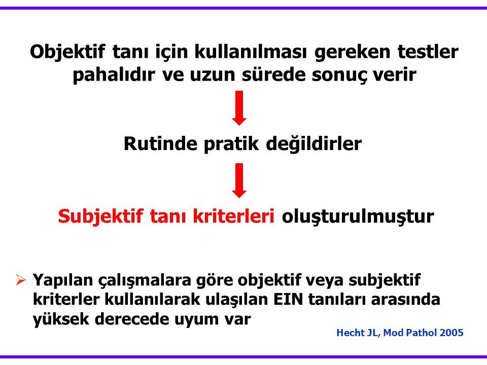 Objektif tanı için kullanılması gereken testler pahalıdır ve uzun sürede sonuç verir Hecht JL, Mod Pathol 2005  Yapılan çalışmalara göre objektif veya subjektif kriterler kullanılarak ulaşılan EIN tanıları arasında yüksek derecede uyum var Rutinde pratik değildirler Subjektif tanı kriterleri oluşturulmuştur